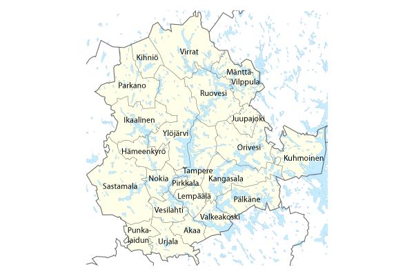 Pirkanmaan kunnat: Akaa, Hämeenkyrö, Ikaalinen, Juupajoki, Kangasala, Kihniö, Kuhmoinen, Lempäälä, Mänttä-Vilppula, Nokia, Orivesi, Parkano, Pirkkala, Punkalaidun, Pälkäne, Ruovesi, Sastamala, Tampere, Urjala, Valkeakoski, Vesilahti, Virrat, Ylöjärvi